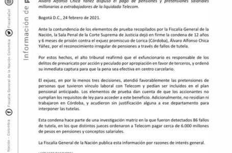 La sala penal de la corte suprema de justicia condena a 12 años y 6 meses de prisión a juez de Lorica (Córdoba) Álvaro Alfonso Chica Yáñez